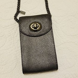 Coach Phone Crossbody in Metallic Caviar Leather